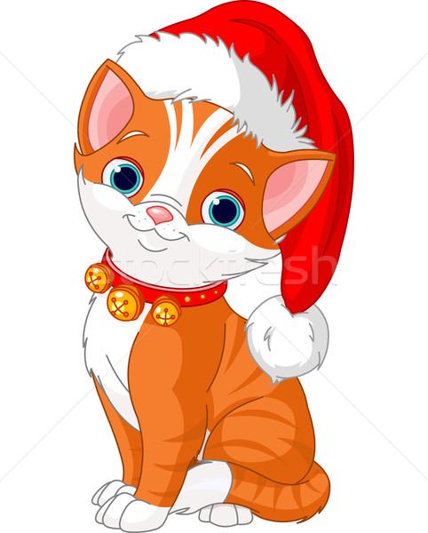 Stockfoto: Christmas · kat · gelukkig · leuk · vakantie · cartoon