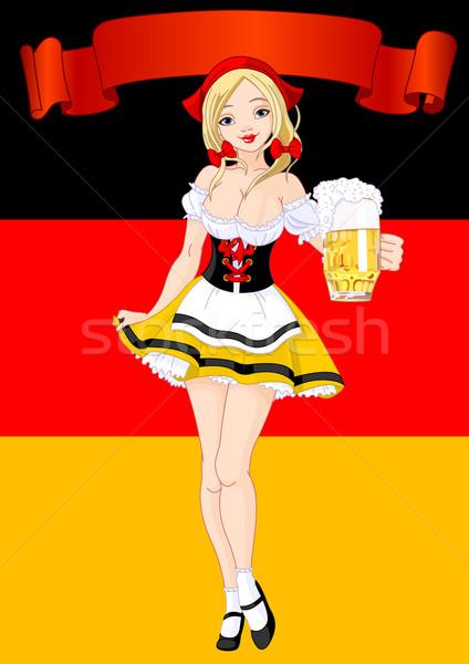 Oktoberfest ünneplés függőleges lány adag sör Stock fotó © Dazdraperma