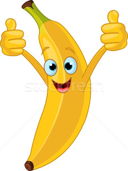 Vrolijk cartoon banaan karakter illustratie oog Stockfoto © Dazdraperma