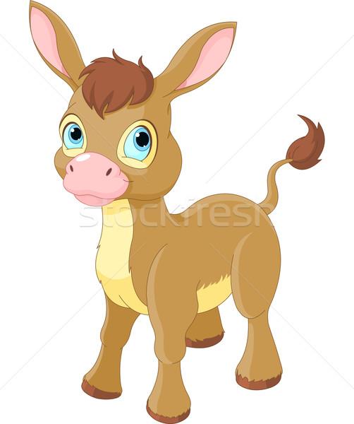 Cute glimlachend ezel illustratie paard dieren Stockfoto © Dazdraperma