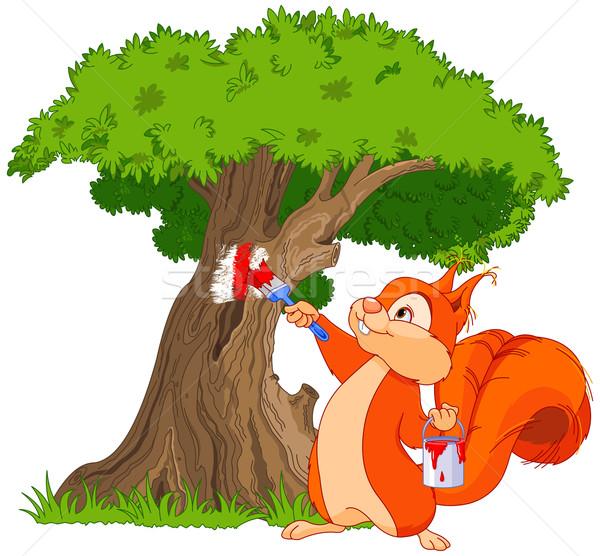 Squirrel painter Stock photo © Dazdraperma
