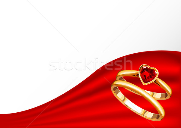 Wedding card with gold rings Stock photo © Dazdraperma