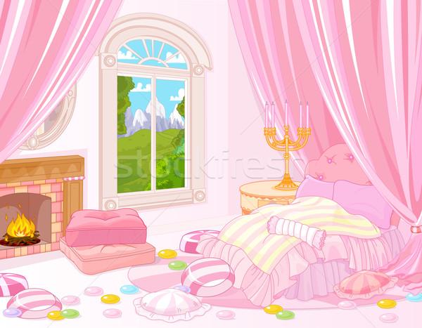 Dolce camera da letto illustrazione amore home Foto d'archivio © Dazdraperma