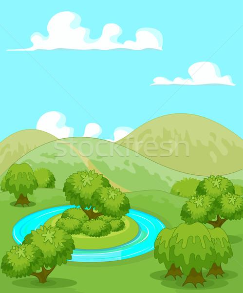Stock fotó: Mágikus · vidéki · táj · illusztráció · víz · fa · felhők
