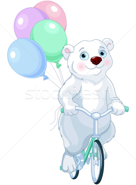 Oso polar equitación bicicleta globos cute naturaleza Foto stock © Dazdraperma