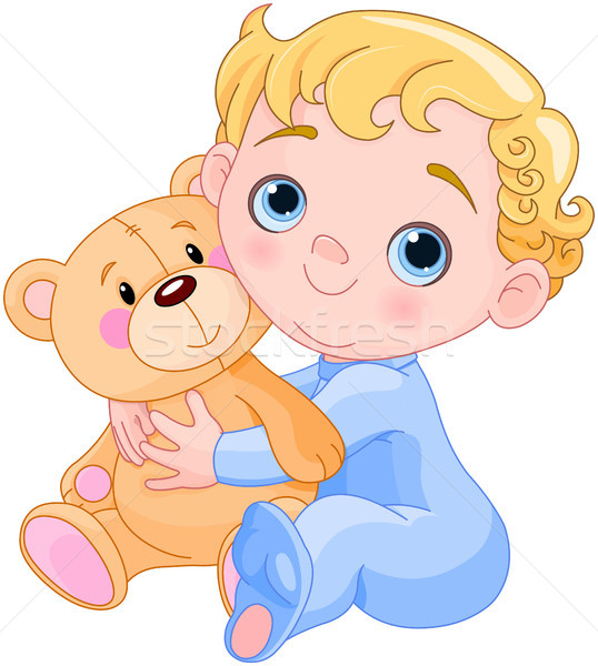 Creeping Baby & Teddy Bear  Stock photo © Dazdraperma