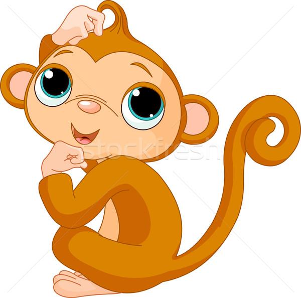 Gondolkodik majom aranyos kicsi Stock fotó © Dazdraperma