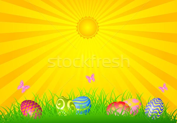 Stockfoto: Pasen · dag · paaseieren · weide · voorjaar