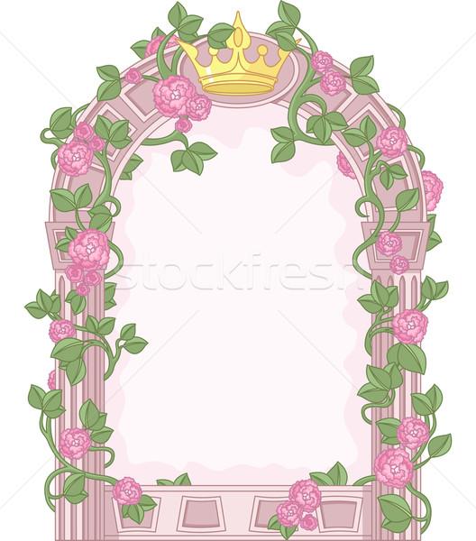 Bajki ramki romantyczny kwiatowy przestrzeni roślin Zdjęcia stock © Dazdraperma