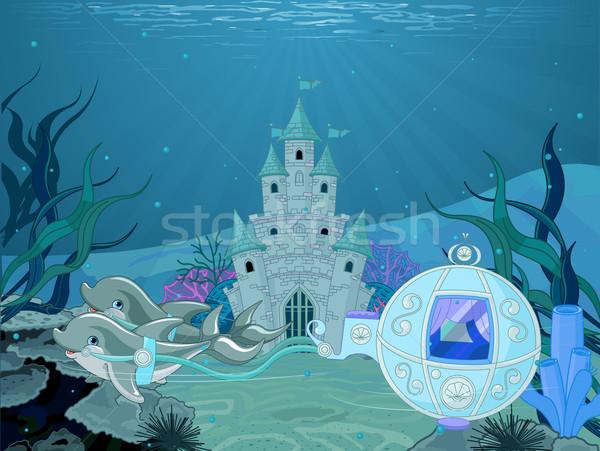 Dolfijn illustratie sprookje oceaan kasteel Stockfoto © Dazdraperma