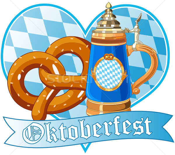 Oktoberfest bretzel mug décoratif design bière Photo stock © Dazdraperma