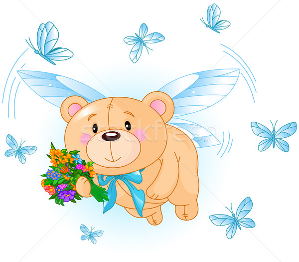 Flying Blue Teddy Bear Stock photo © Dazdraperma