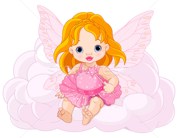 Aranyos baba tündér illusztráció mosoly gyerekek Stock fotó © Dazdraperma