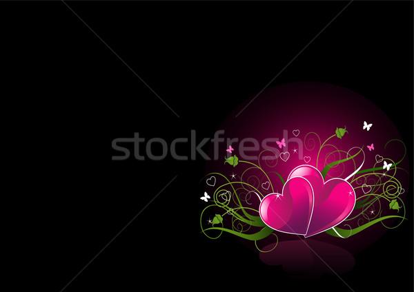 Stockfoto: Romantische · zwarte · harten · Valentijn · illustratie · liefde