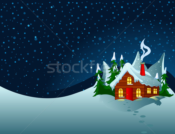 Little house in snowy hills Stock photo © Dazdraperma