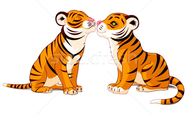 Two Tigers in Love Stock photo © Dazdraperma