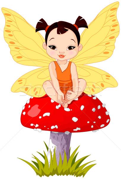 Cute Asian Baby Fairy On Mushroom Stock photo © Dazdraperma