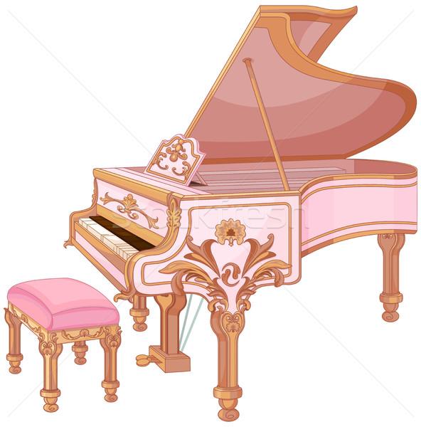 Illusztráció öreg szék zene művészet rózsaszín Stock fotó © Dazdraperma