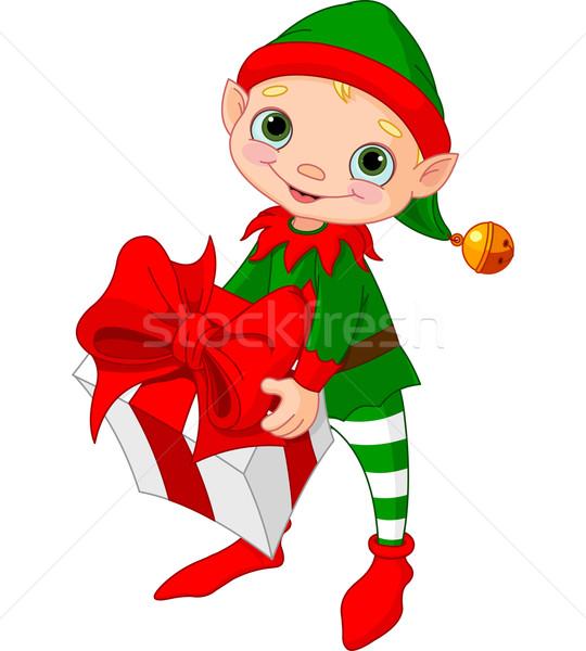 商业照片 / 矢量图: 圣诞节 · 小精灵 · 礼物 · 快乐 · 孩子