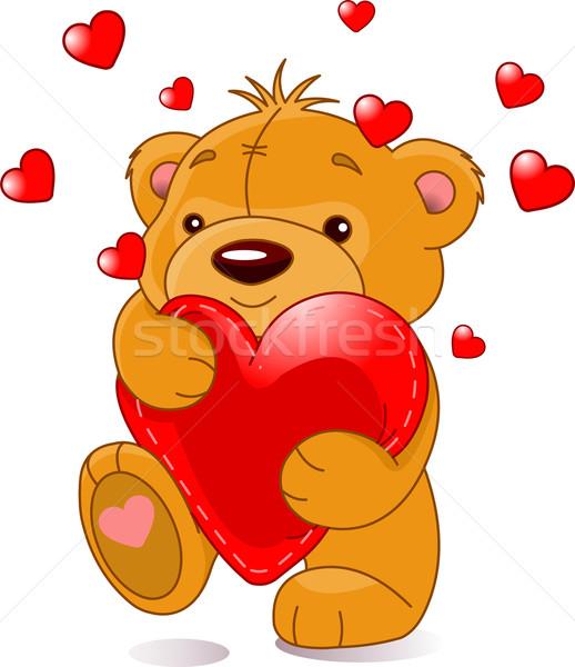 несут сердце Cute мишка красный игрушку Сток-фото © Dazdraperma