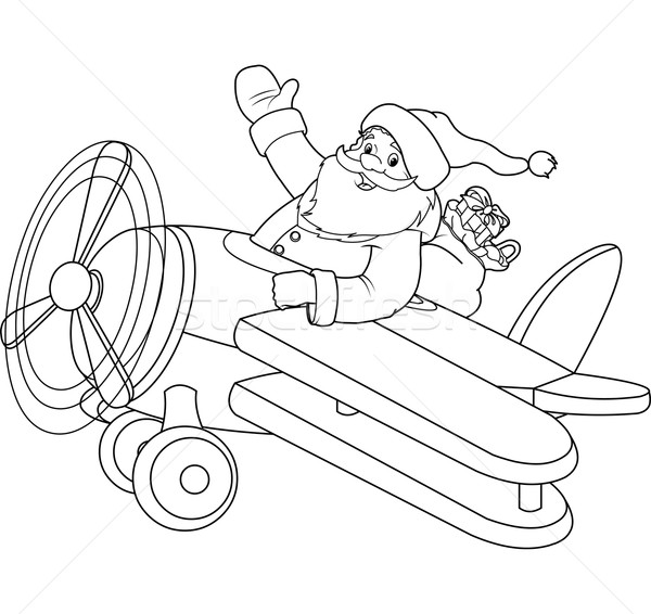 santa flying his christmas plane coloring page add to lightbox download comp