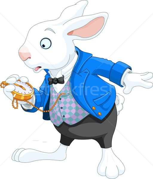 Blanco conejo reloj de bolsillo vacaciones dibujo Foto Foto stock © Dazdraperma