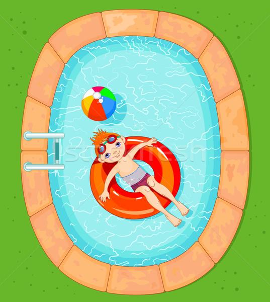 Jongen zwembad cute Rood kind bril Stockfoto © Dazdraperma