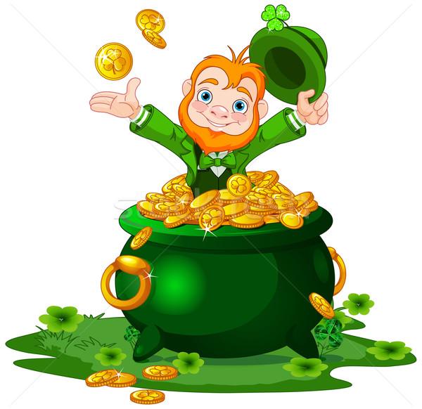 Leprechaun and Pot of Gold Stock photo © Dazdraperma