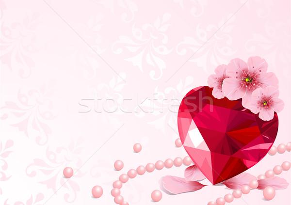 Stockfoto: Liefde · hart · kersenbloesem · roze · ontwerp · bloem