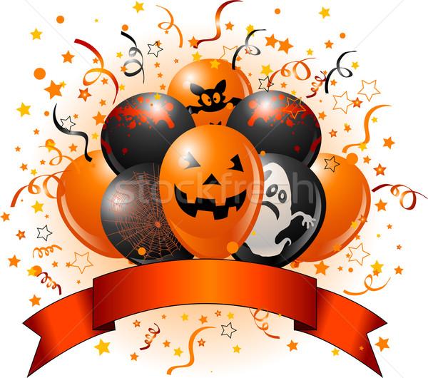 Halloween ballonnen ontwerp confetti exemplaar ruimte lint Stockfoto © Dazdraperma