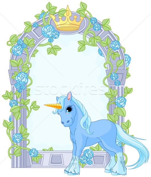 Unicorn close to flower frame Stock photo © Dazdraperma