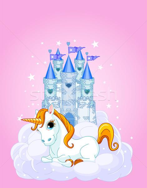 Stock photo: Sky Castle and unicorn