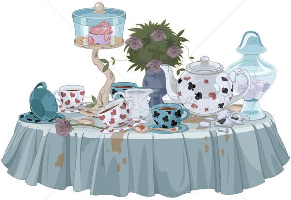 Té fiesta mundo maravilloso decorado mesa flores Foto stock © Dazdraperma