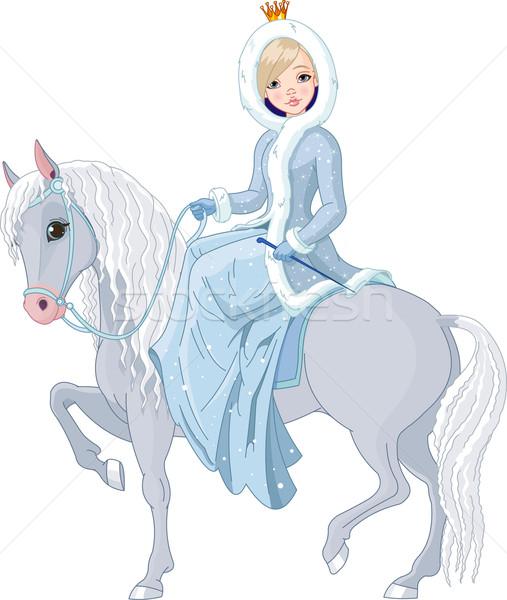 Princess riding horse. Winter Stock photo © Dazdraperma