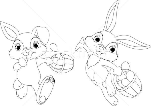 Bunny Hiding Eggs coloring page Stock photo © Dazdraperma