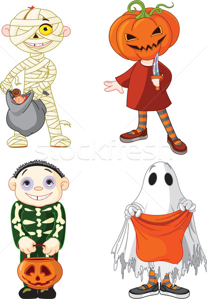 Halloween astuce enfants costumes fête Photo stock © Dazdraperma