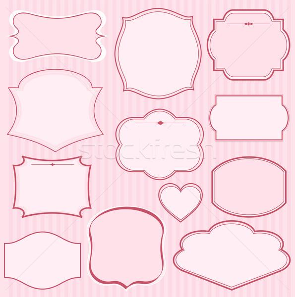 Establecer rosa vector marcos adornos texto Foto stock © Dazdraperma