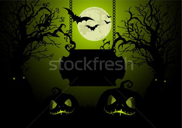 Halloween illustratie maan teken nacht keten Stockfoto © Dazdraperma