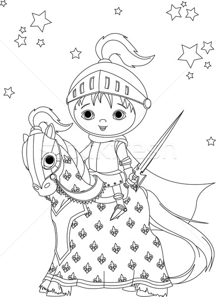 Stock photo: The Brave Knight on the horse coloring page