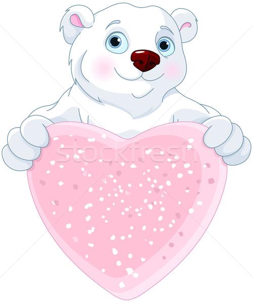 Jegesmedve tart szív alak felirat aranyos szeretet Stock fotó © Dazdraperma