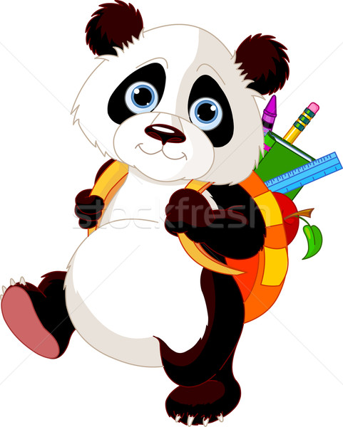 Cute panda go to school Stock photo © Dazdraperma