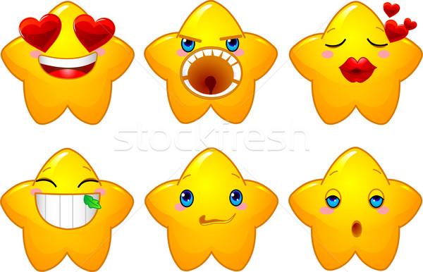 Stok fotoğraf: Ayarlamak · suratlar · Yıldız · sarı · farklı