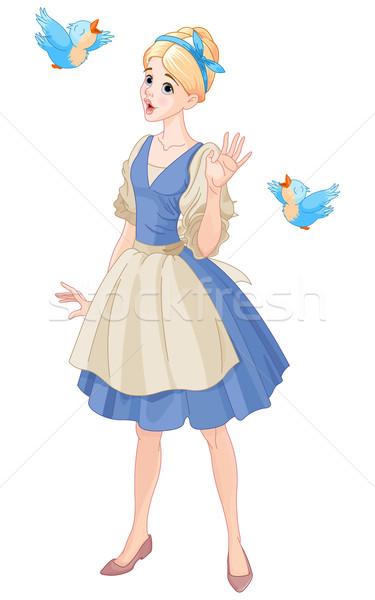 Cinderella Singing with Birds Stock photo © Dazdraperma