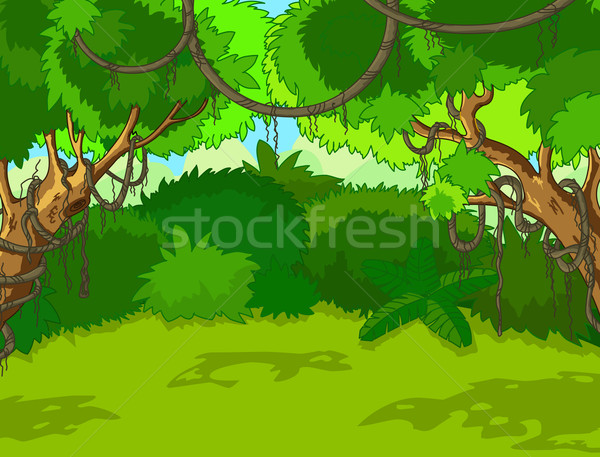 Trópusi erdő tájkép zöld fák levelek Stock fotó © Dazdraperma
