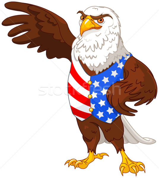 Stockfoto: Amerikaanse · adelaar · illustratie · trots · Amerikaanse · vlag
