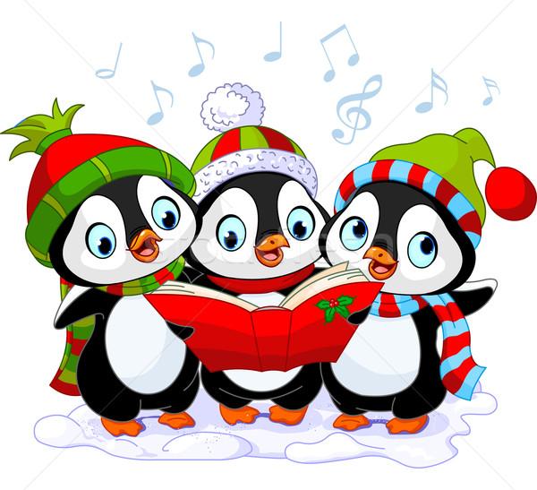 Stock photo: Christmas carolers penguins