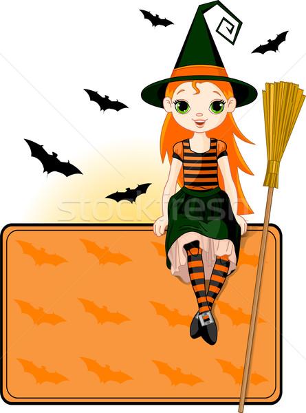 Stockfoto: Weinig · halloween · heks · plaats · kaart · illustratie