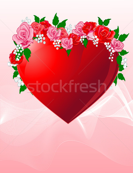 Love heart with roses Stock photo © Dazdraperma