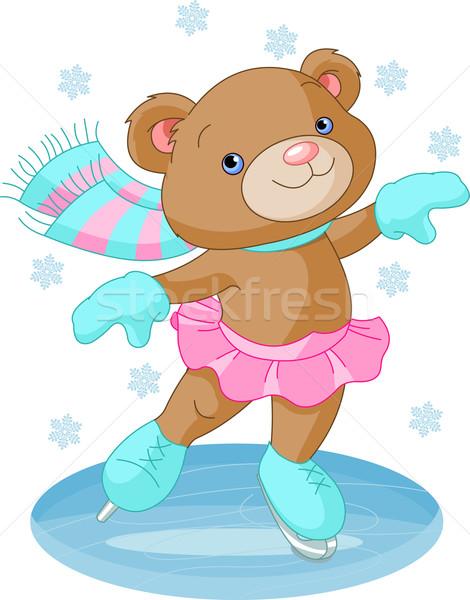 Cute bear girl on ice skates Stock photo © Dazdraperma