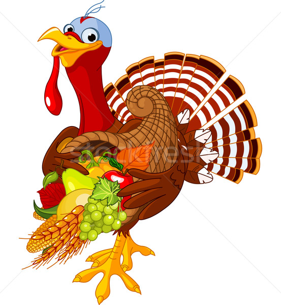 Turkey with cornucopia Stock photo © Dazdraperma